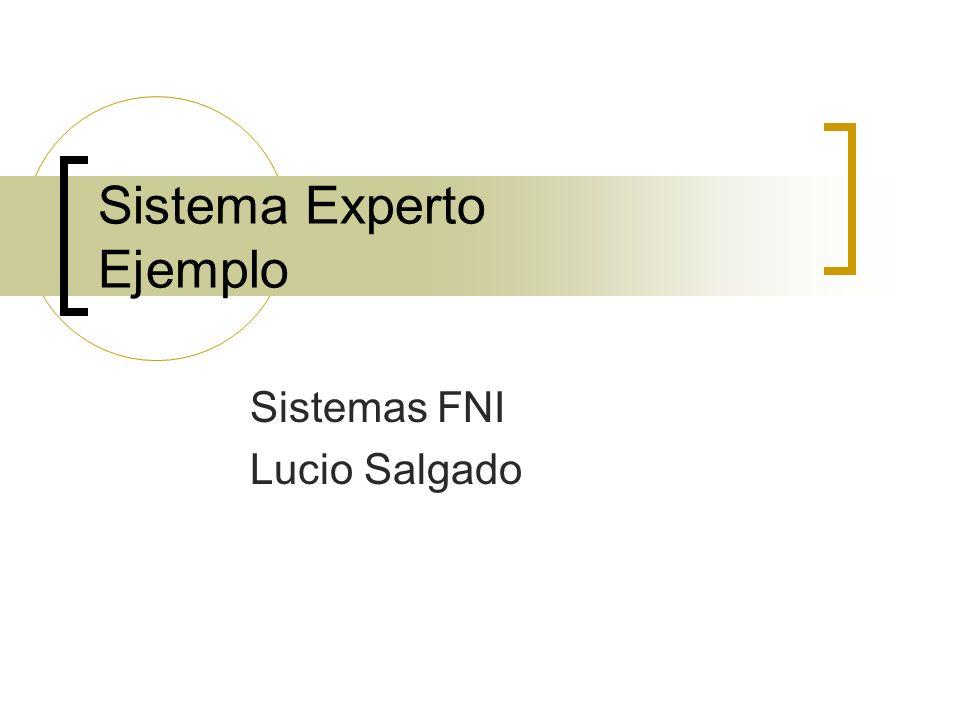 Sistema Experto Ejemplo Sistemas FNI Lucio Salgado