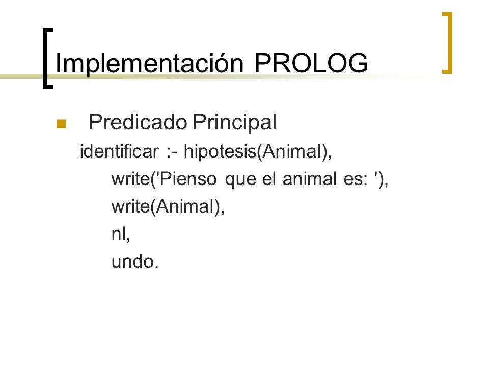 Implementación PROLOG Predicado Principal identificar :- hipotesis(Animal), write('Pienso que el animal es: '), write(Animal), nl, undo.