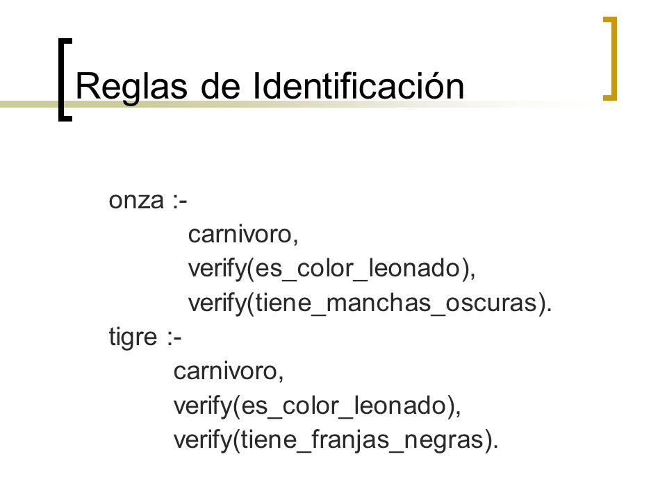 Reglas de Identificación onza :- carnivoro, verify(es_color_leonado), verify(tiene_manchas_oscuras). tigre :- carnivoro, verify(es_color_leonado), ver