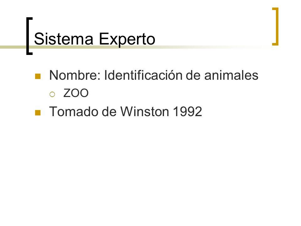 Sistema Experto Nombre: Identificación de animales ZOO Tomado de Winston 1992