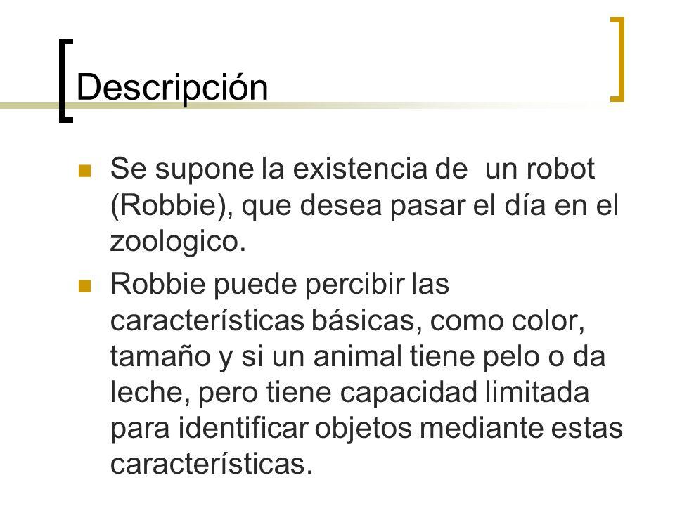 Descripción Se supone la existencia de un robot (Robbie), que desea pasar el día en el zoologico. Robbie puede percibir las características básicas, c