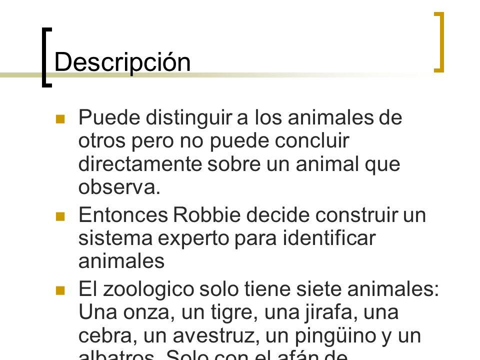 Descripción Puede distinguir a los animales de otros pero no puede concluir directamente sobre un animal que observa. Entonces Robbie decide construir