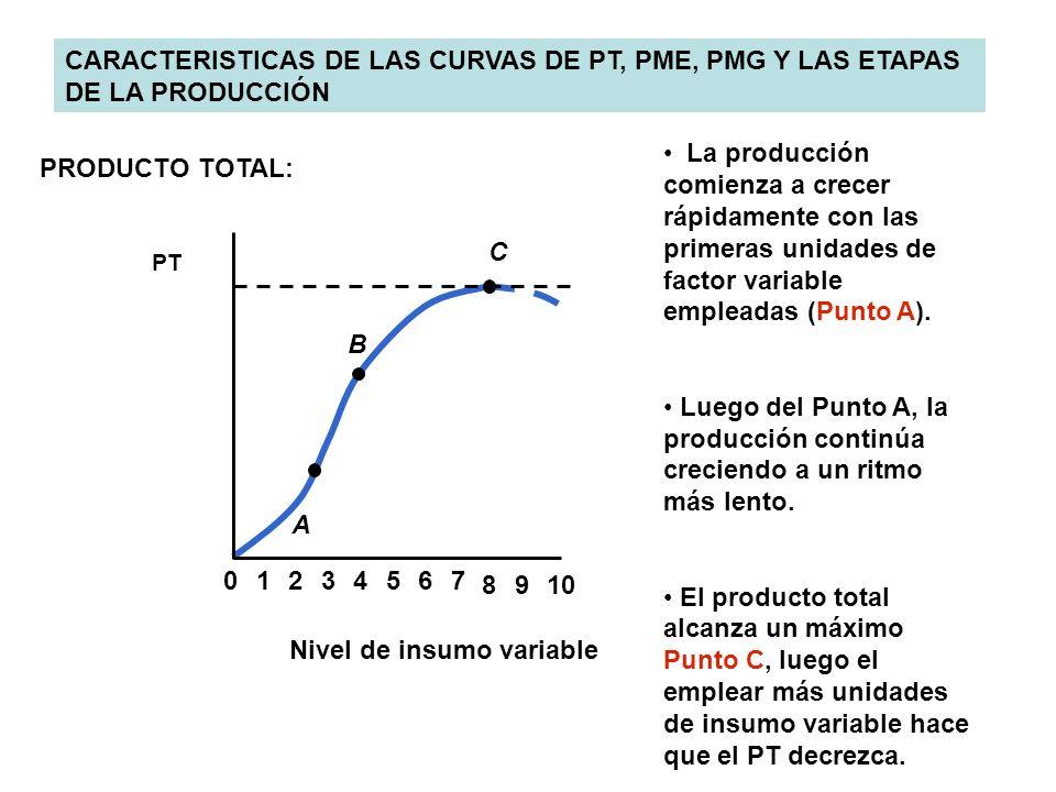 CARACTERISTICAS DE LAS CURVAS DE PT, PME, PMG Y LAS ETAPAS DE LA PRODUCCIÓN 0234567 8910 1 A B C PT PRODUCTO TOTAL: Nivel de insumo variable La produc