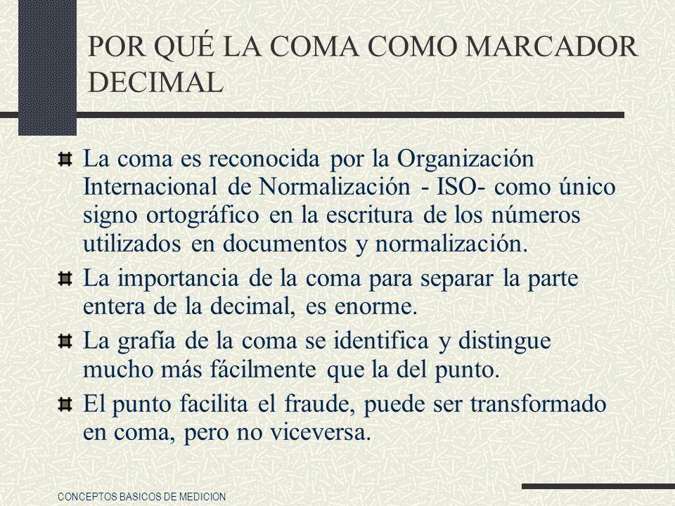 CONCEPTOS BASICOS DE MEDICION POR QUÉ LA COMA COMO MARCADOR DECIMAL La coma es reconocida por la Organización Internacional de Normalización - ISO- co