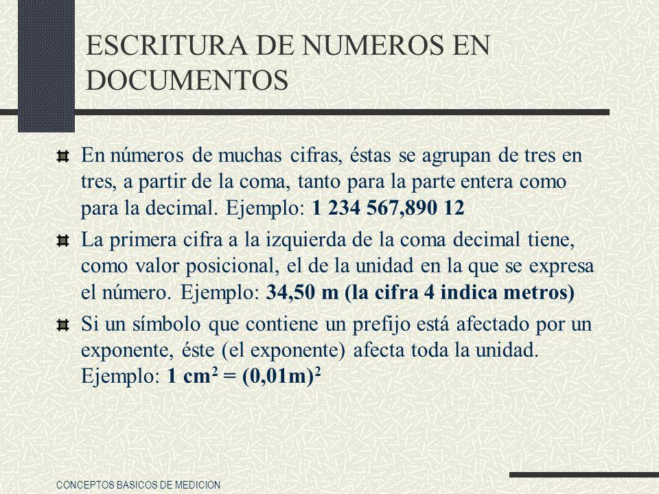 CONCEPTOS BASICOS DE MEDICION ESCRITURA DE NUMEROS EN DOCUMENTOS En números de muchas cifras, éstas se agrupan de tres en tres, a partir de la coma, t