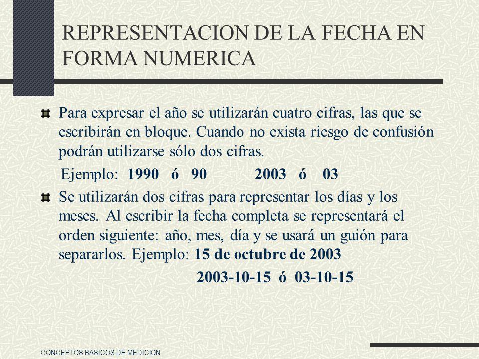 CONCEPTOS BASICOS DE MEDICION REPRESENTACION DE LA FECHA EN FORMA NUMERICA Para expresar el año se utilizarán cuatro cifras, las que se escribirán en