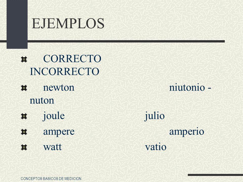 CONCEPTOS BASICOS DE MEDICION EJEMPLOS CORRECTO INCORRECTO newton niutonio - nuton joule julio ampere amperio watt vatio