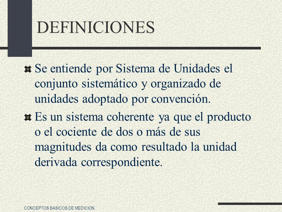CONCEPTOS BASICOS DE MEDICION DEFINICIONES Se entiende por Sistema de Unidades el conjunto sistemático y organizado de unidades adoptado por convenció