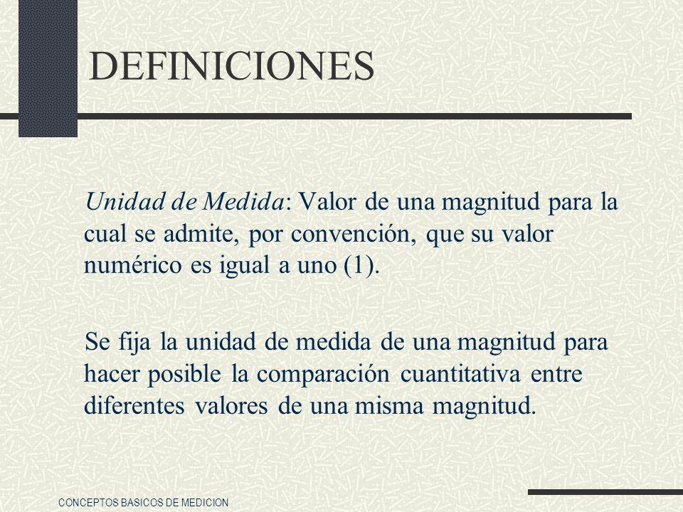 CONCEPTOS BASICOS DE MEDICION DEFINICIONES Unidad de Medida: Valor de una magnitud para la cual se admite, por convención, que su valor numérico es ig