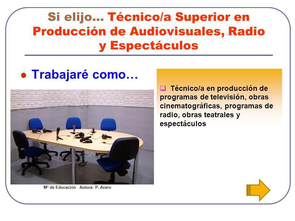 Si elijo… Técnico/a Superior en Producción de Audiovisuales, Radio y Espectáculos Trabajaré como… Técnico/a en producción de programas de televisión,