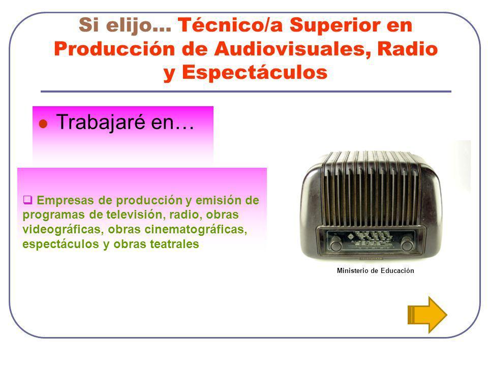 Si elijo… Técnico/a Superior en Producción de Audiovisuales, Radio y Espectáculos Trabajaré en… Empresas de producción y emisión de programas de telev