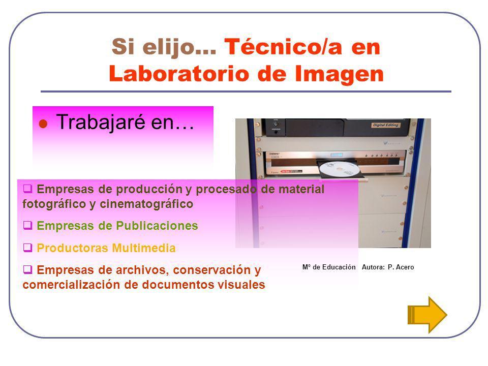 Si elijo… Técnico/a en Laboratorio de Imagen Trabajaré en… Empresas de producción y procesado de material fotográfico y cinematográfico Empresas de Pu