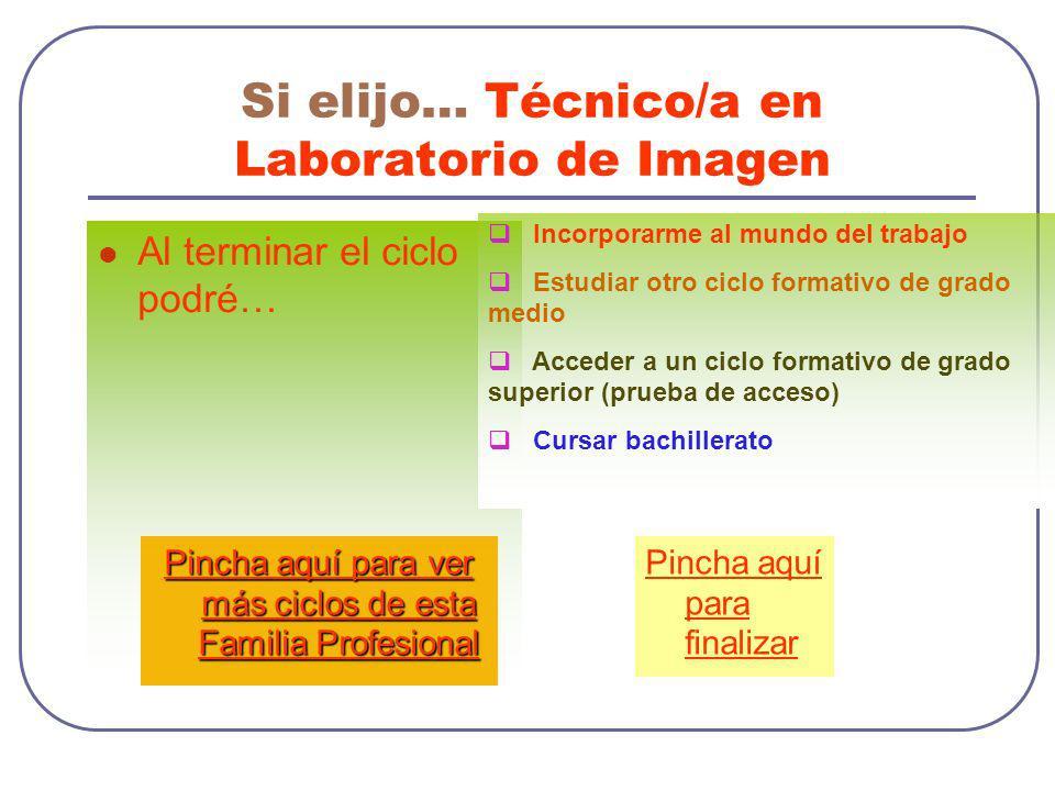 Si elijo… Técnico/a en Laboratorio de Imagen Al terminar el ciclo podré… Incorporarme al mundo del trabajo Estudiar otro ciclo formativo de grado medi
