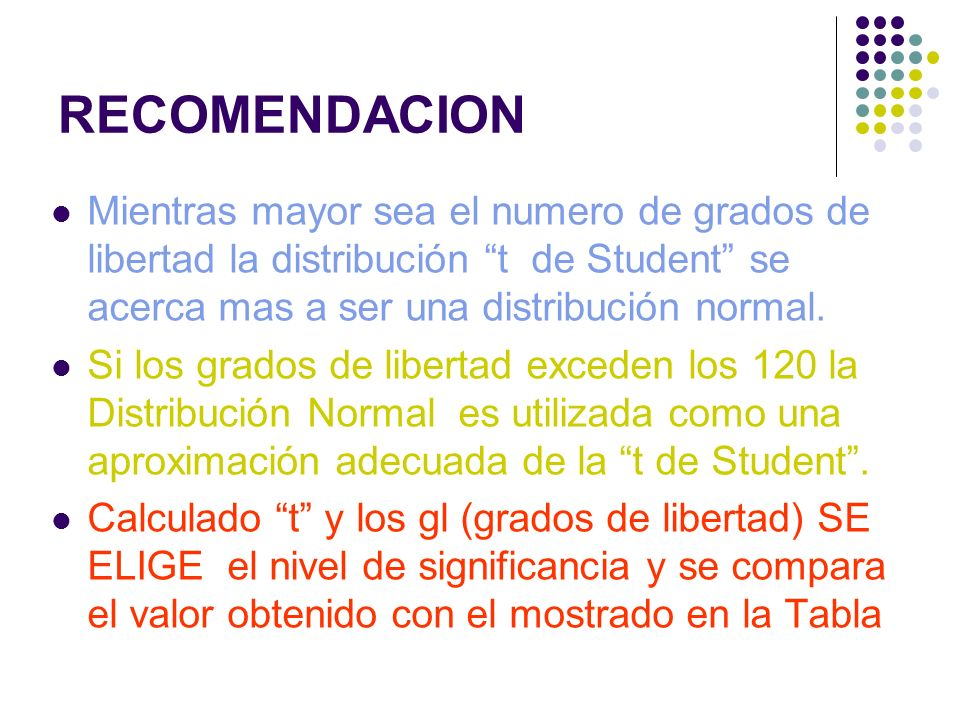 RECOMENDACION Mientras mayor sea el numero de grados de libertad la distribución t de Student se acerca mas a ser una distribución normal. Si los grad