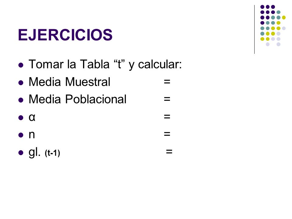 EJERCICIOS Tomar la Tabla t y calcular: Media Muestral= Media Poblacional= α= n= gl. (t-1) =