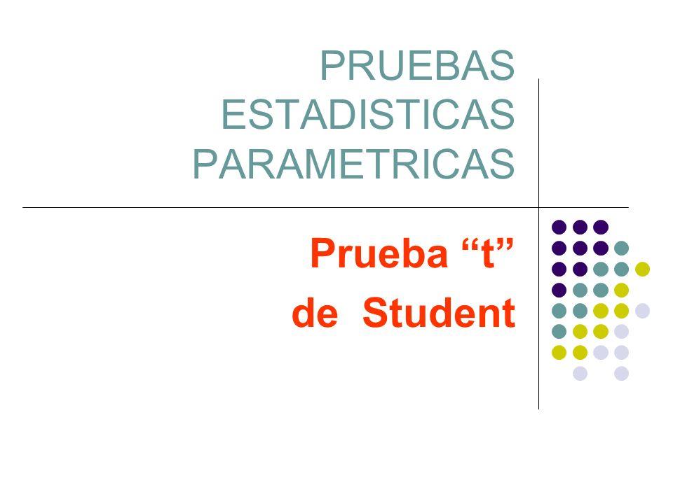 PRUEBAS ESTADISTICAS PARAMETRICAS Prueba t de Student