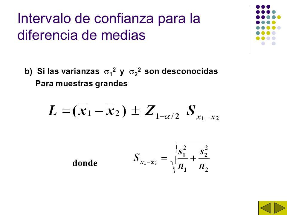 Intervalo de confianza para la diferencia de medias b) Si las varianzas 1 2 y 2 2 son desconocidas Para muestras grandes donde