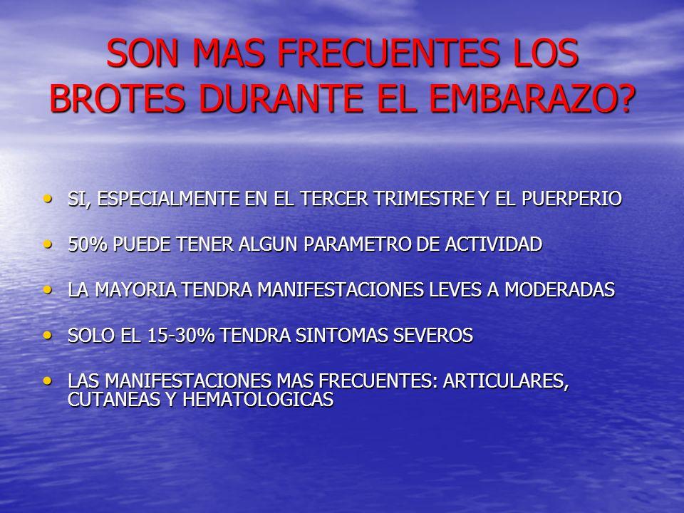 SON MAS FRECUENTES LOS BROTES DURANTE EL EMBARAZO? SI, ESPECIALMENTE EN EL TERCER TRIMESTRE Y EL PUERPERIO SI, ESPECIALMENTE EN EL TERCER TRIMESTRE Y