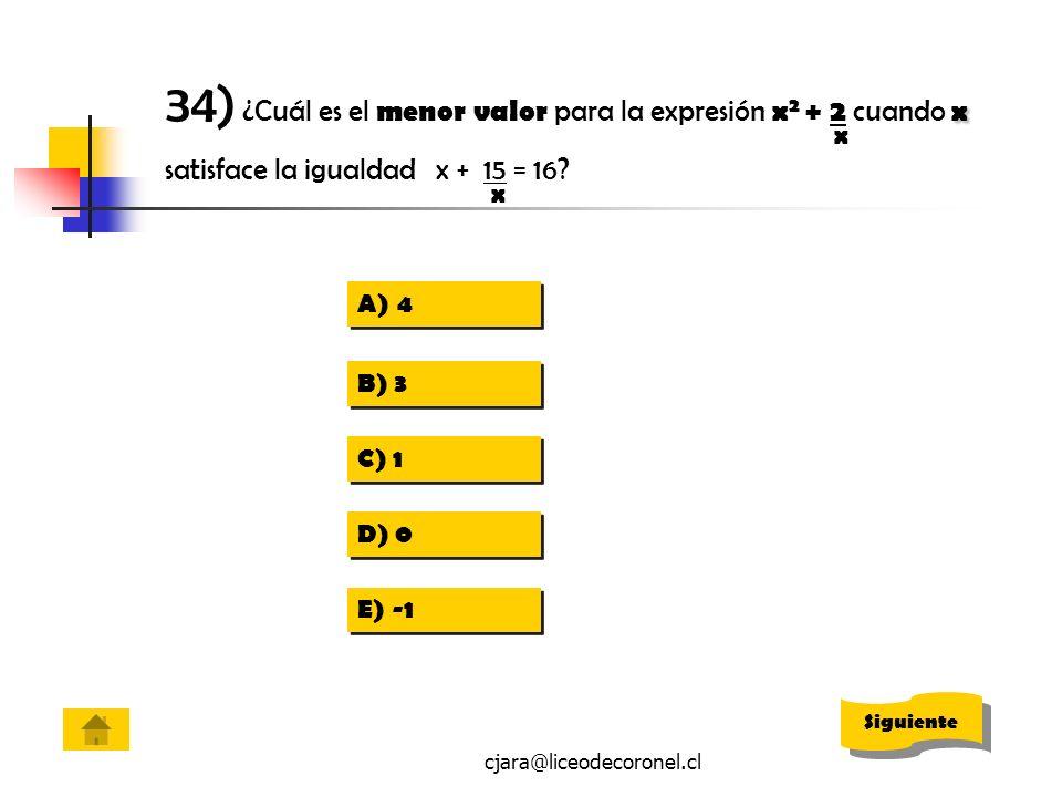 cjara@liceodecoronel.cl x 34) ¿Cuál es el menor valor para la expresión x 2 + 2 cuando x satisface la igualdad x + 15 = 16? x x A)44 A)44 B) 3 C) 1 D)
