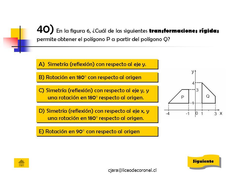 cjara@liceodecoronel.cl 40) En la figura 6, ¿Cuál de las siguientes transformaciones rígidas permite obtener el polígono P a partir del polígono Q? A)