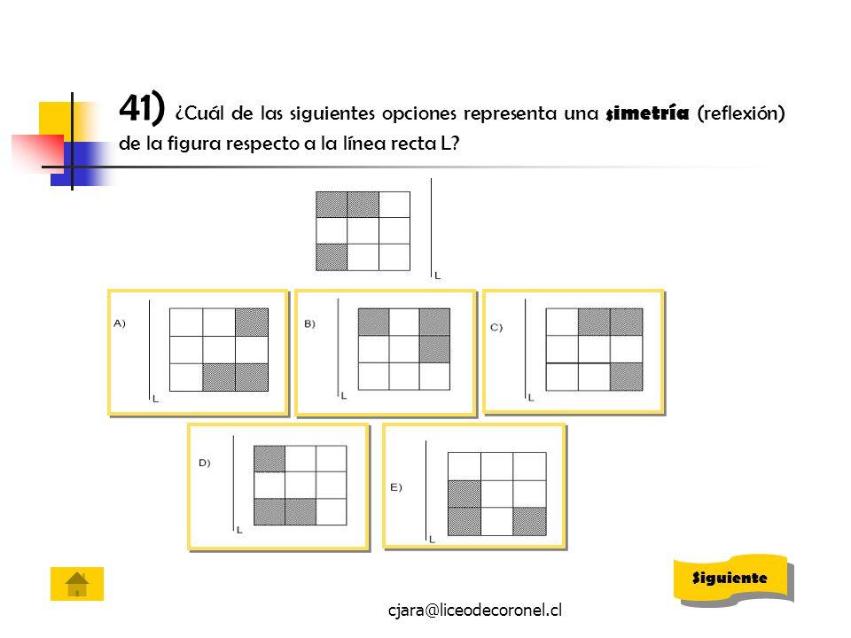 cjara@liceodecoronel.cl 41) ¿Cuál de las siguientes opciones representa una simetría (reflexión) de la figura respecto a la línea recta L? Siguiente