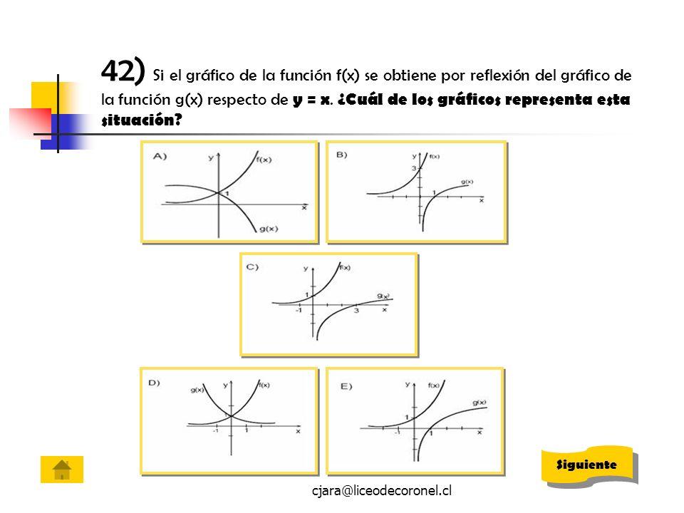 cjara@liceodecoronel.cl 42) Si el gráfico de la función f(x) se obtiene por reflexión del gráfico de la función g(x) respecto de y = x. ¿Cuál de los g