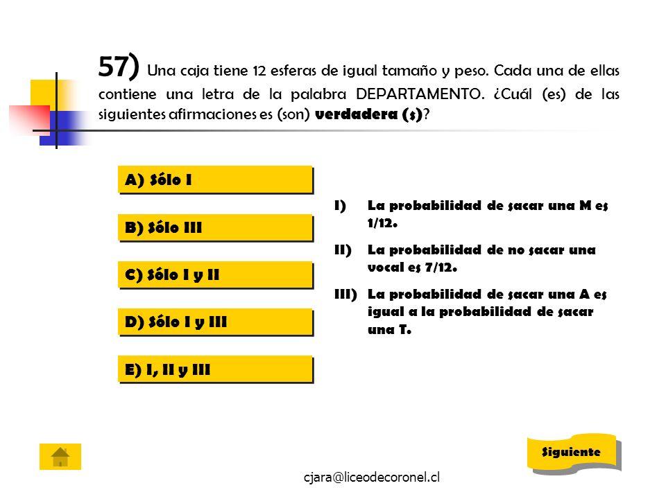 cjara@liceodecoronel.cl 57) Una caja tiene 12 esferas de igual tamaño y peso. Cada una de ellas contiene una letra de la palabra DEPARTAMENTO. ¿Cuál (