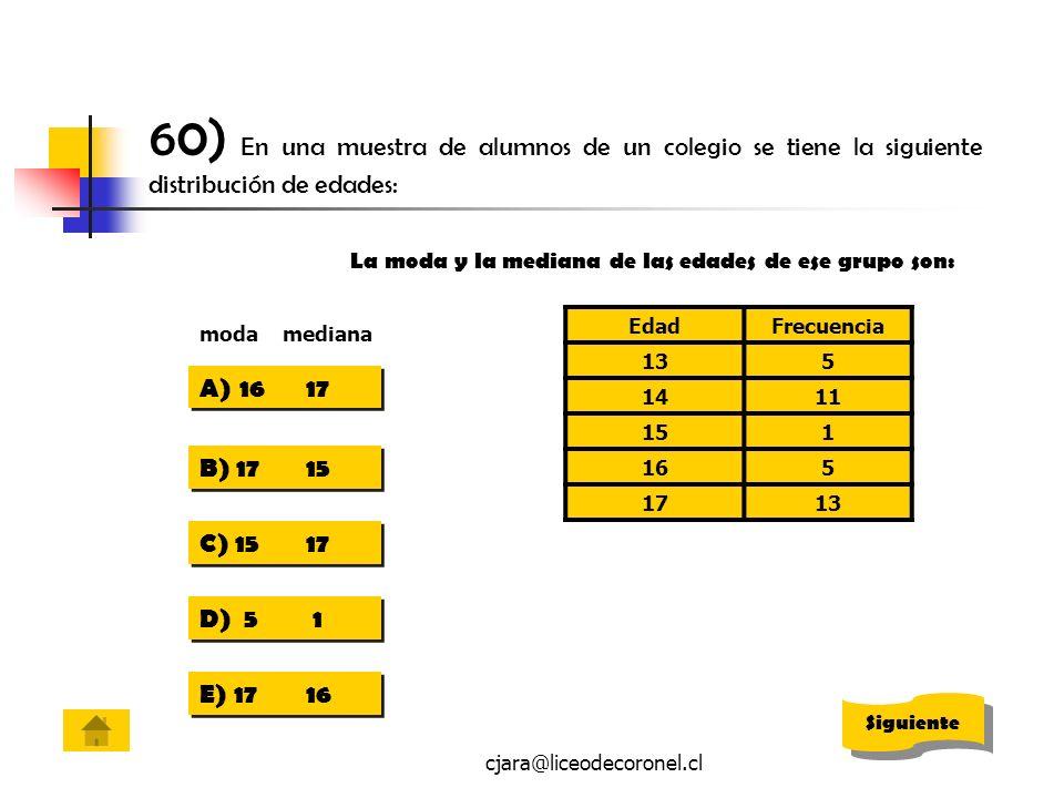 cjara@liceodecoronel.cl 60) En una muestra de alumnos de un colegio se tiene la siguiente distribución de edades: EdadFrecuencia 135 1411 151 165 1713