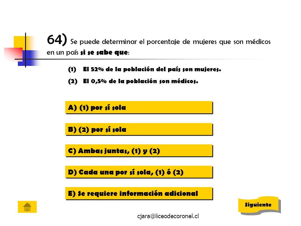 cjara@liceodecoronel.cl 64) Se puede determinar el porcentaje de mujeres que son médicos en un país si se sabe que : (1)El 52% de la población del paí