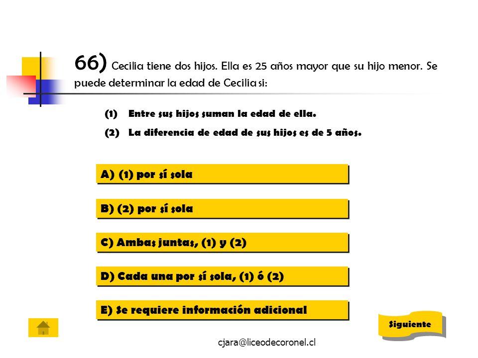 cjara@liceodecoronel.cl 66) Cecilia tiene dos hijos. Ella es 25 años mayor que su hijo menor. Se puede determinar la edad de Cecilia si: (1)Entre sus