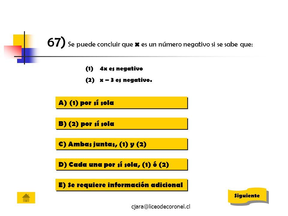 cjara@liceodecoronel.cl 67) Se puede concluir que x es un número negativo si se sabe que: (1)4x es negativo (2)x – 3 es negativo. A)(1) por sí sola(1)