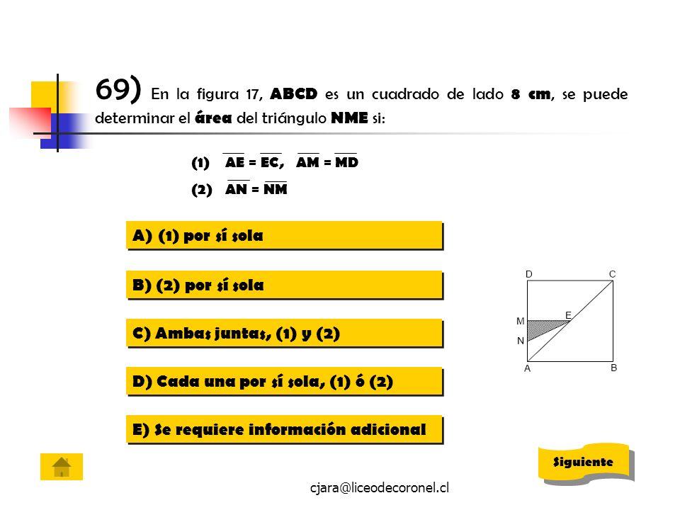 cjara@liceodecoronel.cl 69) En la figura 17, ABCD es un cuadrado de lado 8 cm, se puede determinar el área del triángulo NME si: A)(1) por sí sola(1)