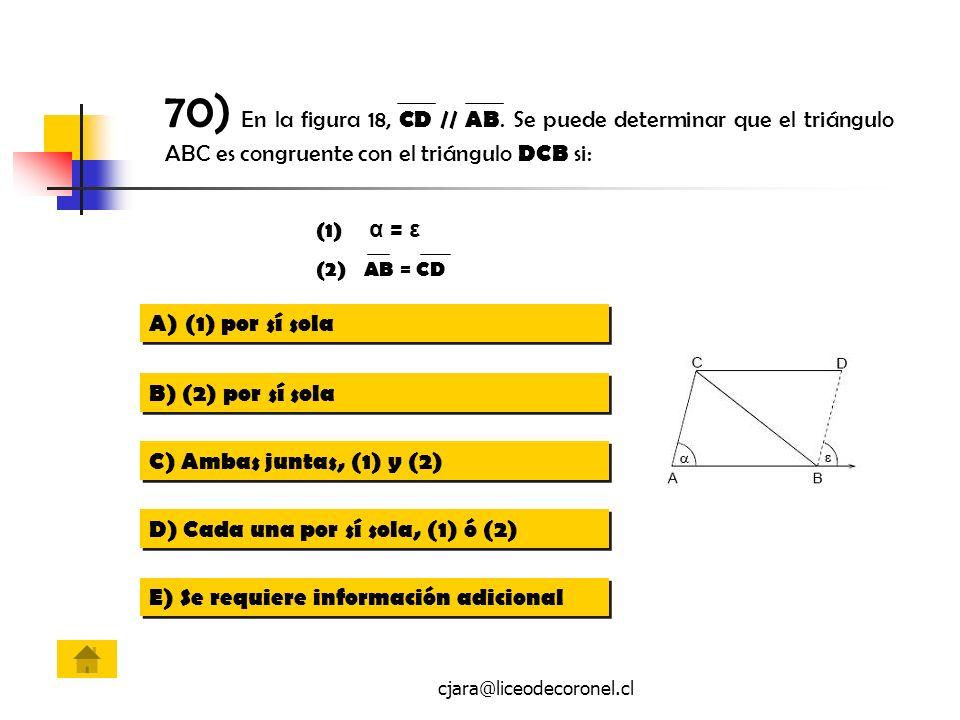 cjara@liceodecoronel.cl (1) α = ε (2)AB = CD A)(1) por sí sola(1) por sí sola A)(1) por sí sola(1) por sí sola B) (2) por sí sola C) Ambas juntas, (1)