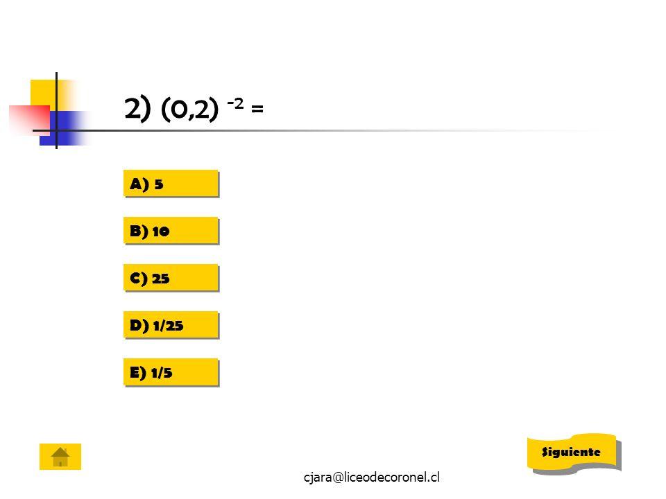 cjara@liceodecoronel.cl 2) (0,2) -2 = A)55 A)55 B) 10 C) 25 D) 1/25 E) 1/5 Siguiente