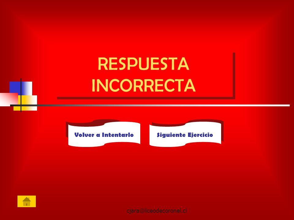 cjara@liceodecoronel.cl RESPUESTA INCORRECTA Siguiente Ejercicio Volver a Intentarlo