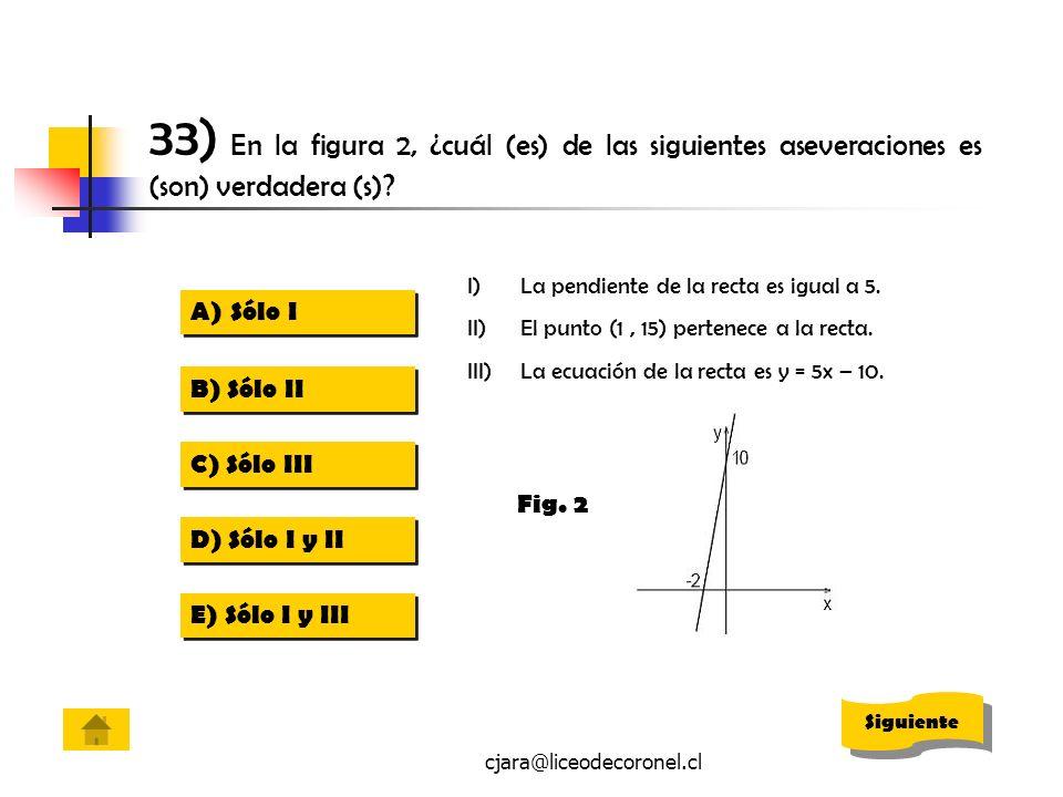 cjara@liceodecoronel.cl 33) En la figura 2, ¿cuál (es) de las siguientes aseveraciones es (son) verdadera (s)? I)La pendiente de la recta es igual a 5