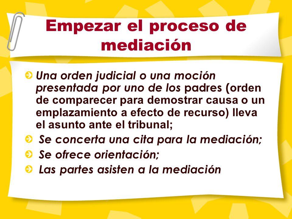 Empezar el proceso de mediaci ó n La mediaci ó n Los ni ñ os en la mediaci ó n El informe del mediador La audiencia Despu é s de la audiencia Parte II