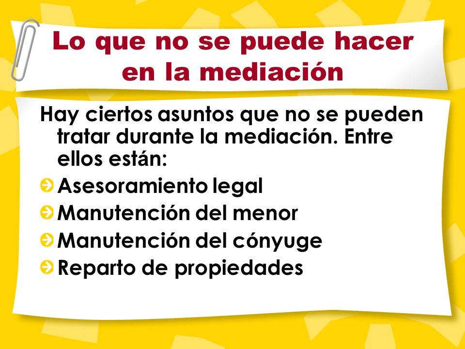 Objetivos de la mediación Llegar a un acuerdo sobre la custodia de sus hijos; Llegar a un acuerdo de horario para repartir el tiempo con sus hijos; Ac