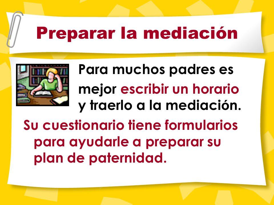 Prepare ¡Lo mejor es ir bien preparado! Piense bien en un plan de paternidad adecuado para su hijo. El plan de paternidad debe ser fruto de la partici