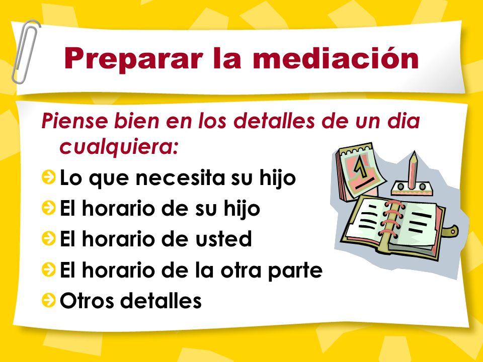 Preparar la mediación Para muchos padres es mejor escribir un horario y traerlo a la mediaci ó n. Su cuestionario tiene formularios para ayudarle a pr