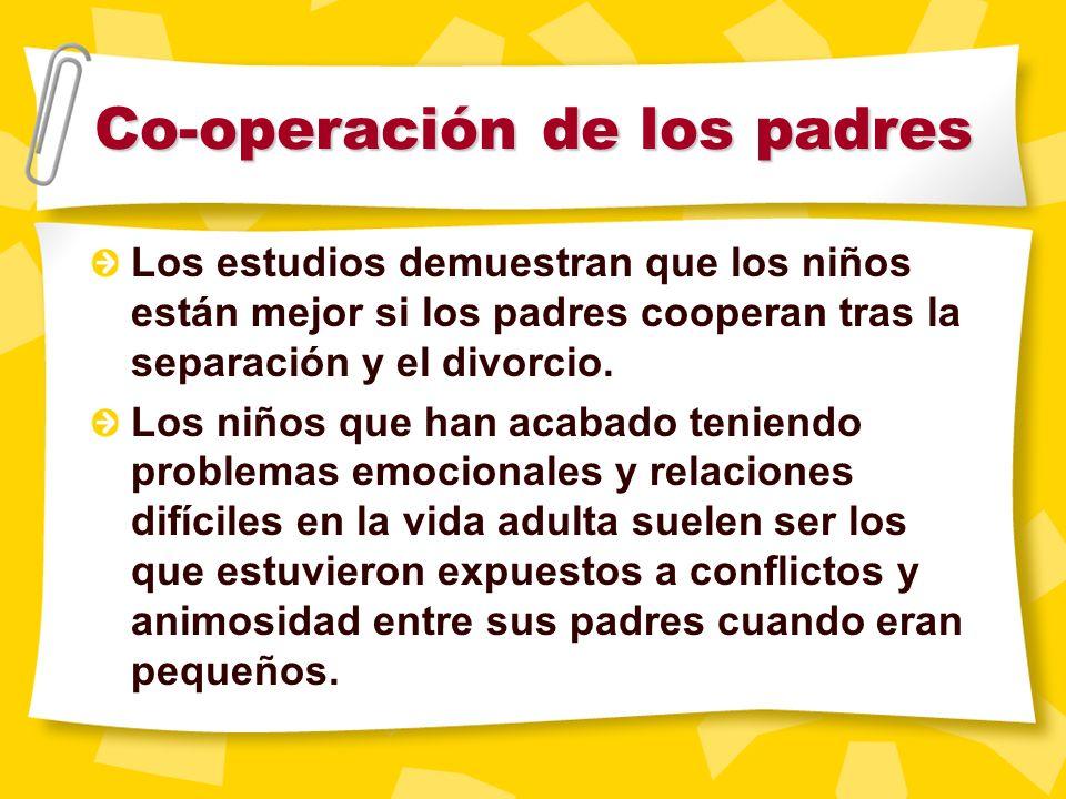 La adaptaci ó n del ni ñ o tras el divorcio est á directamente relacionada con la capacidad de cooperaci ó n de los padres el uno con el otro. Tranqui