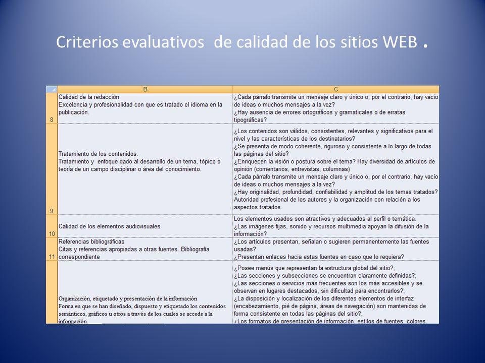 Criterios evaluativos de calidad de los sitios WEB.