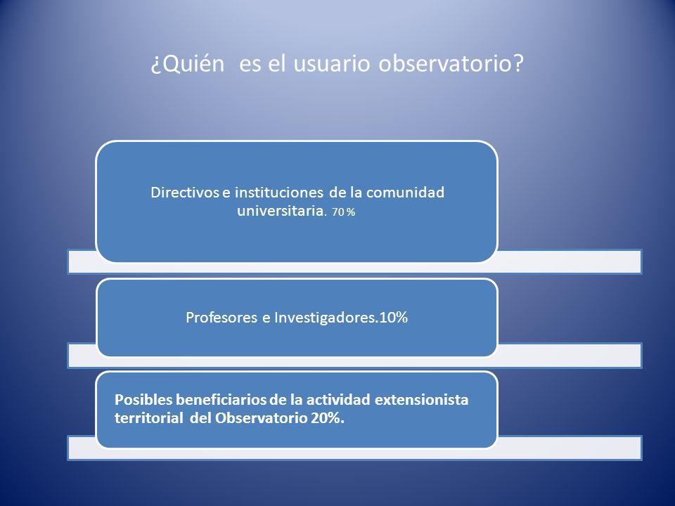 Finalidad del observatorio se crea para monitorear información y pautar el horizonte de expectativas de toma de decisiones y cursos investigativos.
