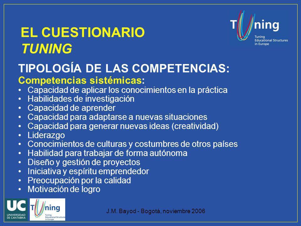 J.M. Bayod - Bogotá, noviembre 2006 TIPOLOGÍA DE LAS COMPETENCIAS: Competencias sistémicas: Capacidad de aplicar los conocimientos en la práctica Habi