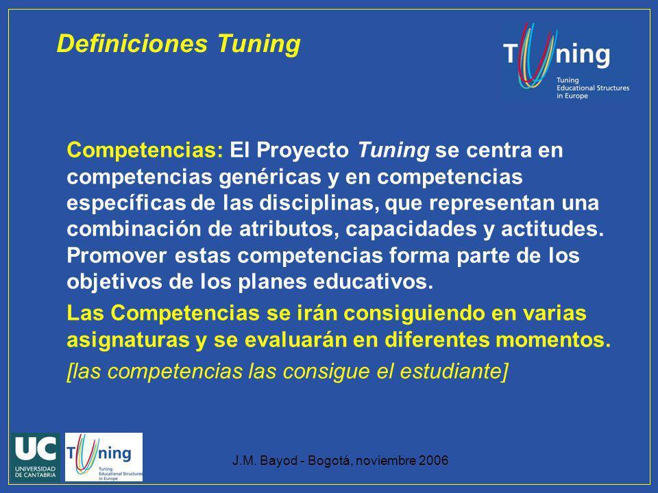 J.M. Bayod - Bogotá, noviembre 2006 Competencias: El Proyecto Tuning se centra en competencias genéricas y en competencias específicas de las discipli