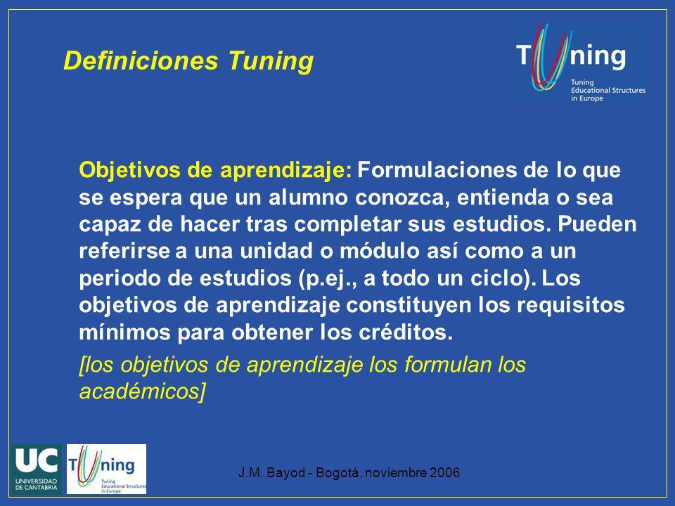 J.M. Bayod - Bogotá, noviembre 2006 Objetivos de aprendizaje: Formulaciones de lo que se espera que un alumno conozca, entienda o sea capaz de hacer t