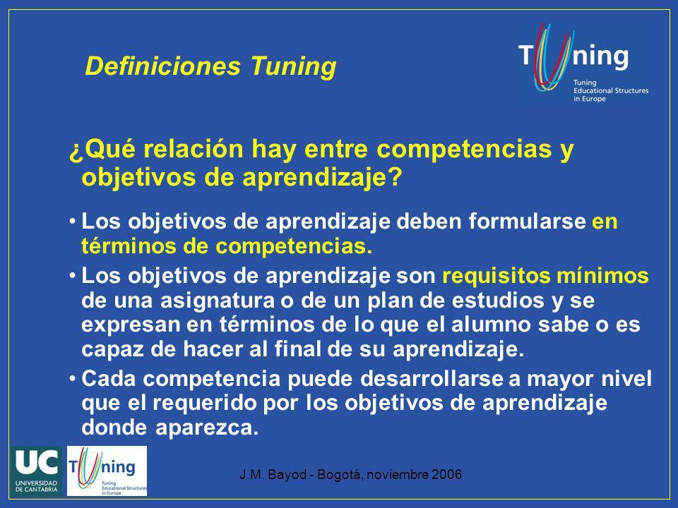 J.M. Bayod - Bogotá, noviembre 2006 ¿Qué relación hay entre competencias y objetivos de aprendizaje? Los objetivos de aprendizaje deben formularse en