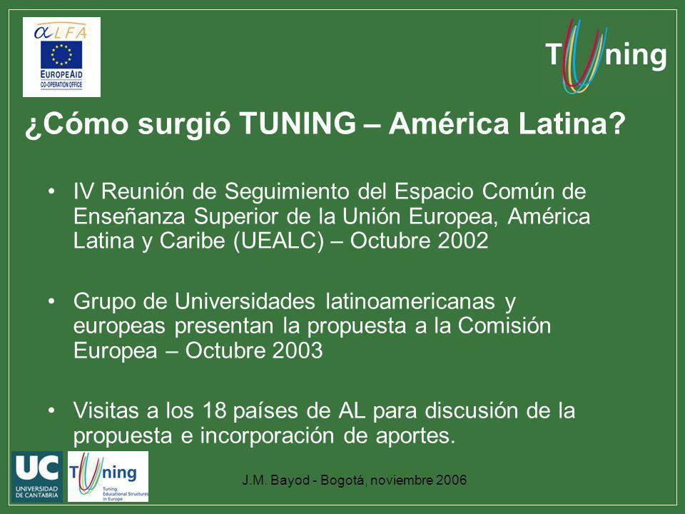 J.M. Bayod - Bogotá, noviembre 2006 ¿Cómo surgió TUNING – América Latina? IV Reunión de Seguimiento del Espacio Común de Enseñanza Superior de la Unió
