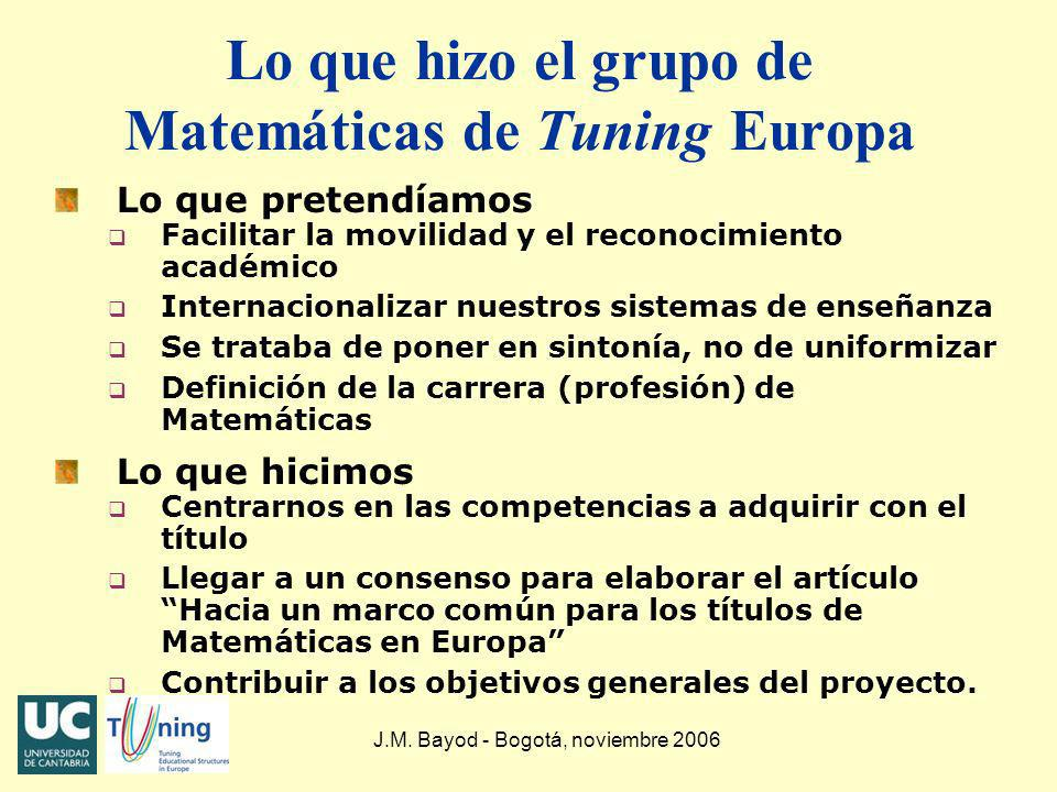 Lo que hizo el grupo de Matemáticas de Tuning Europa Lo que pretendíamos q Facilitar la movilidad y el reconocimiento académico q Internacionalizar nu