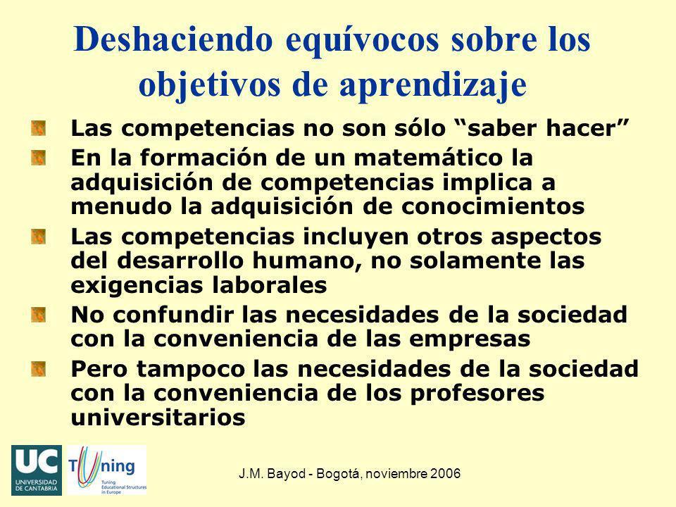 J.M. Bayod - Bogotá, noviembre 2006 Deshaciendo equívocos sobre los objetivos de aprendizaje Las competencias no son sólo saber hacer En la formación